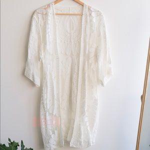 New Bohemian White Lace Kimono